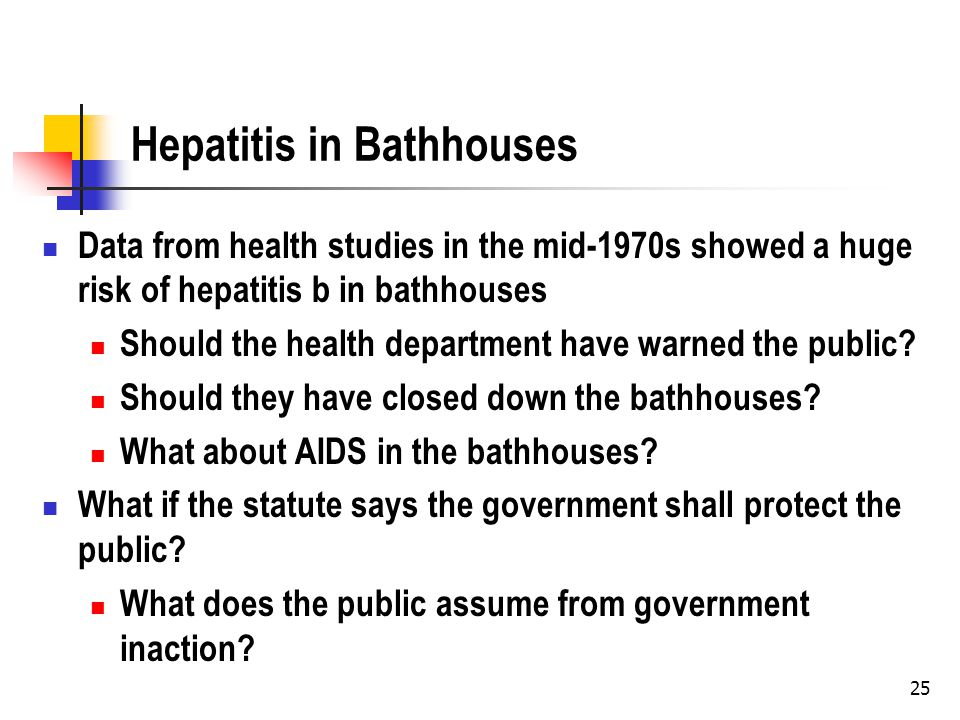 25 Hepatitis in Bathhouses Data from health studies in the mid-1970s showed a huge risk of hepatitis b in bathhouses Should the health department have warned the public.