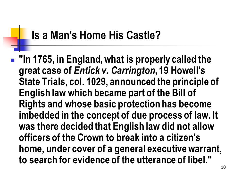 Is a Man s Home His Castle.