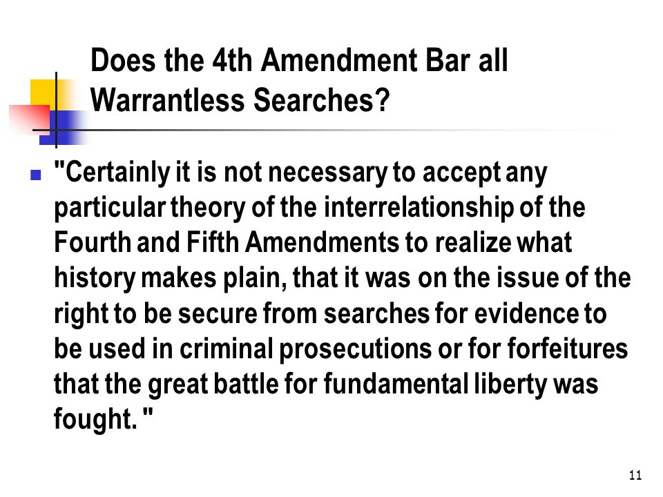 Does the 4th Amendment Bar all Warrantless Searches?