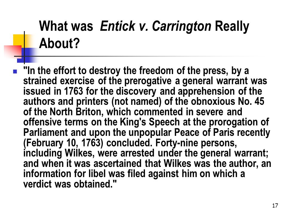 What was Entick v. Carrington Really About?
