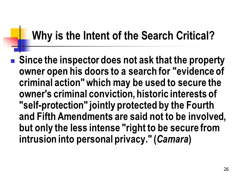 26 Why is the Intent of the Search Critical? Since the inspector does not ask that the property owner open his doors to a search for