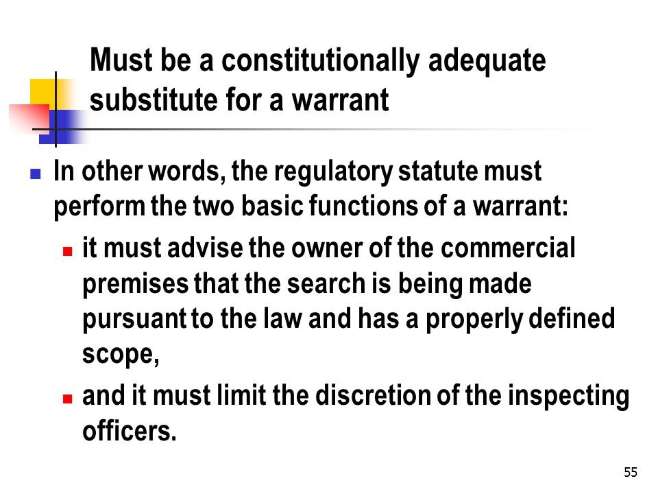 55 Must be a constitutionally adequate substitute for a warrant In other words, the regulatory statute must perform the two basic functions of a warrant: it must advise the owner of the commercial premises that the search is being made pursuant to the law and has a properly defined scope, and it must limit the discretion of the inspecting officers.
