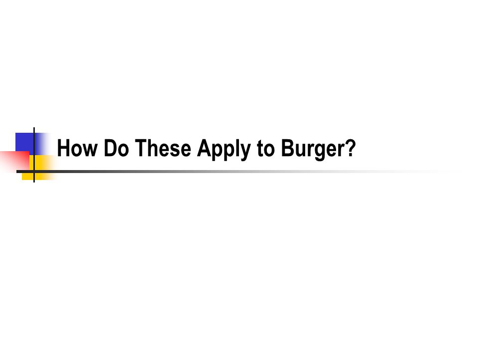 How Do These Apply to Burger?