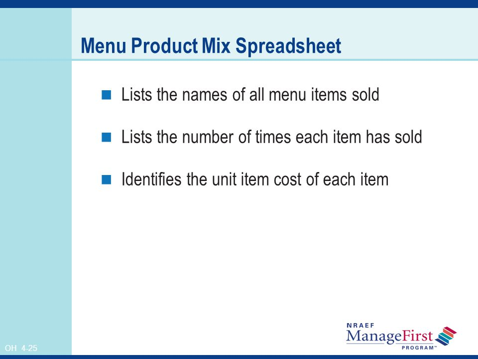 OH 4-25 Menu Product Mix Spreadsheet Lists the names of all menu items sold Lists the number of times each item has sold Identifies the unit item cost