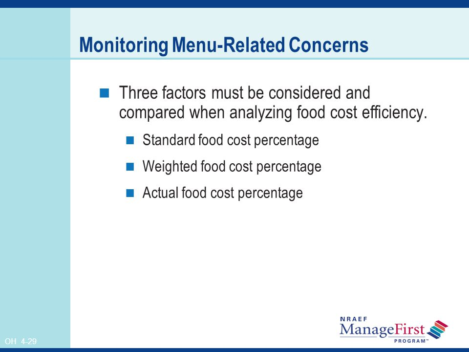 OH 4-29 Monitoring Menu-Related Concerns Three factors must be considered and compared when analyzing food cost efficiency. Standard food cost percent