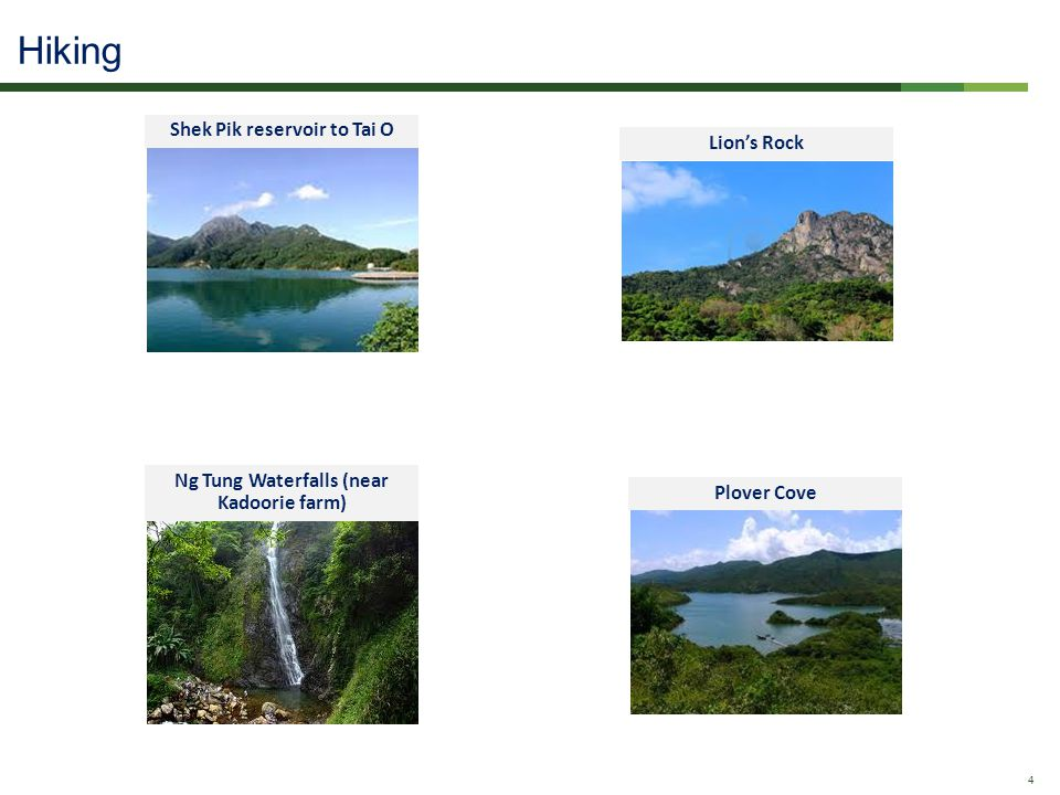 Confidential - Do Not Distribute 4 Hiking Shek Pik reservoir to Tai O Ng Tung Waterfalls (near Kadoorie farm) Lions Rock Plover Cove