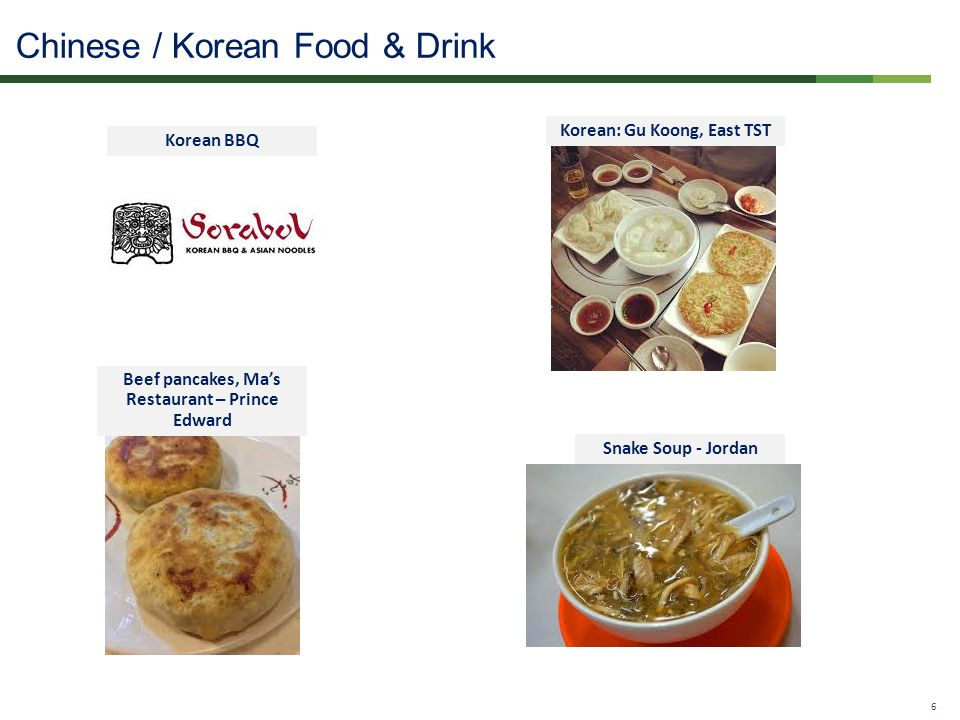 Confidential - Do Not Distribute 6 Korean BBQ Korean: Gu Koong, East TST Beef pancakes, Mas Restaurant – Prince Edward Snake Soup - Jordan Chinese / Korean Food & Drink