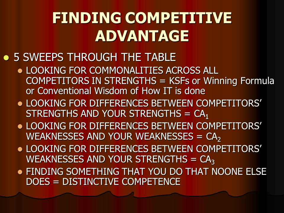 FINDING COMPETITIVE ADVANTAGE 5 SWEEPS THROUGH THE TABLE 5 SWEEPS THROUGH THE TABLE LOOKING FOR COMMONALITIES ACROSS ALL COMPETITORS IN STRENGTHS = KSFs or Winning Formula or Conventional Wisdom of How IT is done LOOKING FOR COMMONALITIES ACROSS ALL COMPETITORS IN STRENGTHS = KSFs or Winning Formula or Conventional Wisdom of How IT is done LOOKING FOR DIFFERENCES BETWEEN COMPETITORS STRENGTHS AND YOUR STRENGTHS = CA 1 LOOKING FOR DIFFERENCES BETWEEN COMPETITORS STRENGTHS AND YOUR STRENGTHS = CA 1 LOOKING FOR DIFFERENCES BETWEEN COMPETITORS WEAKNESSES AND YOUR WEAKNESSES = CA 2 LOOKING FOR DIFFERENCES BETWEEN COMPETITORS WEAKNESSES AND YOUR WEAKNESSES = CA 2 LOOKING FOR DIFFERENCES BETWEEN COMPETITORS WEAKNESSES AND YOUR STRENGTHS = CA 3 LOOKING FOR DIFFERENCES BETWEEN COMPETITORS WEAKNESSES AND YOUR STRENGTHS = CA 3 FINDING SOMETHING THAT YOU DO THAT NOONE ELSE DOES = DISTINCTIVE COMPETENCE FINDING SOMETHING THAT YOU DO THAT NOONE ELSE DOES = DISTINCTIVE COMPETENCE
