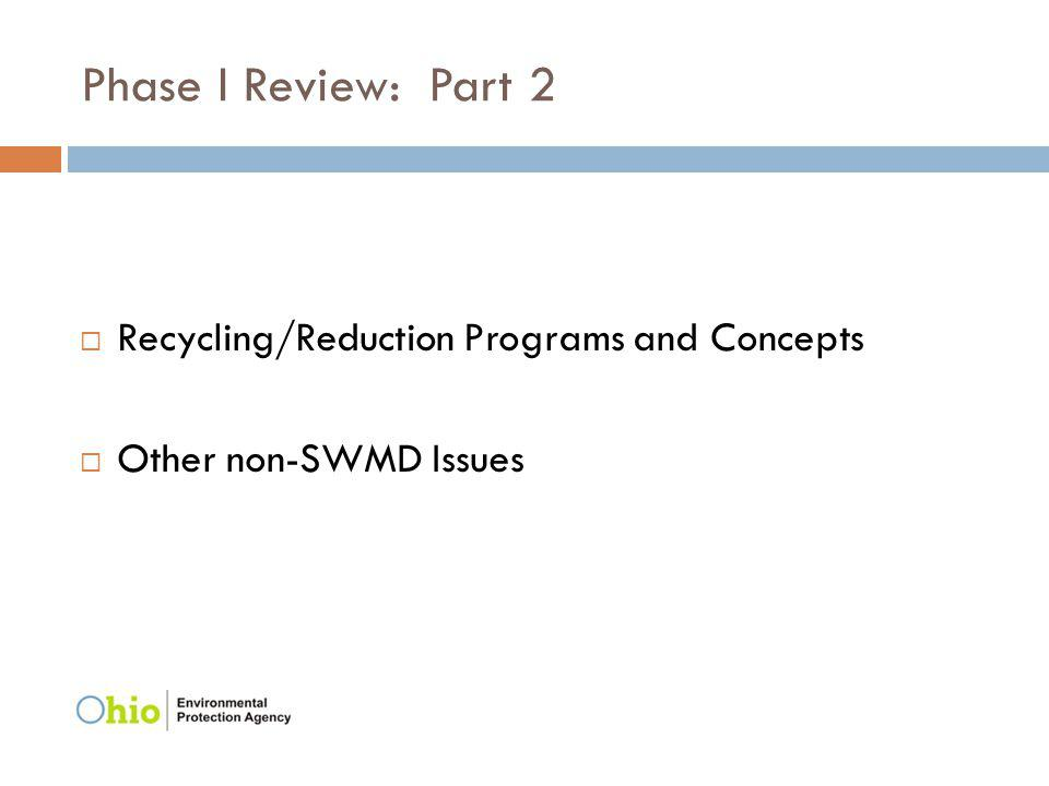 Phase I Review: Part 2 Recycling/Reduction Programs and Concepts Other non-SWMD Issues