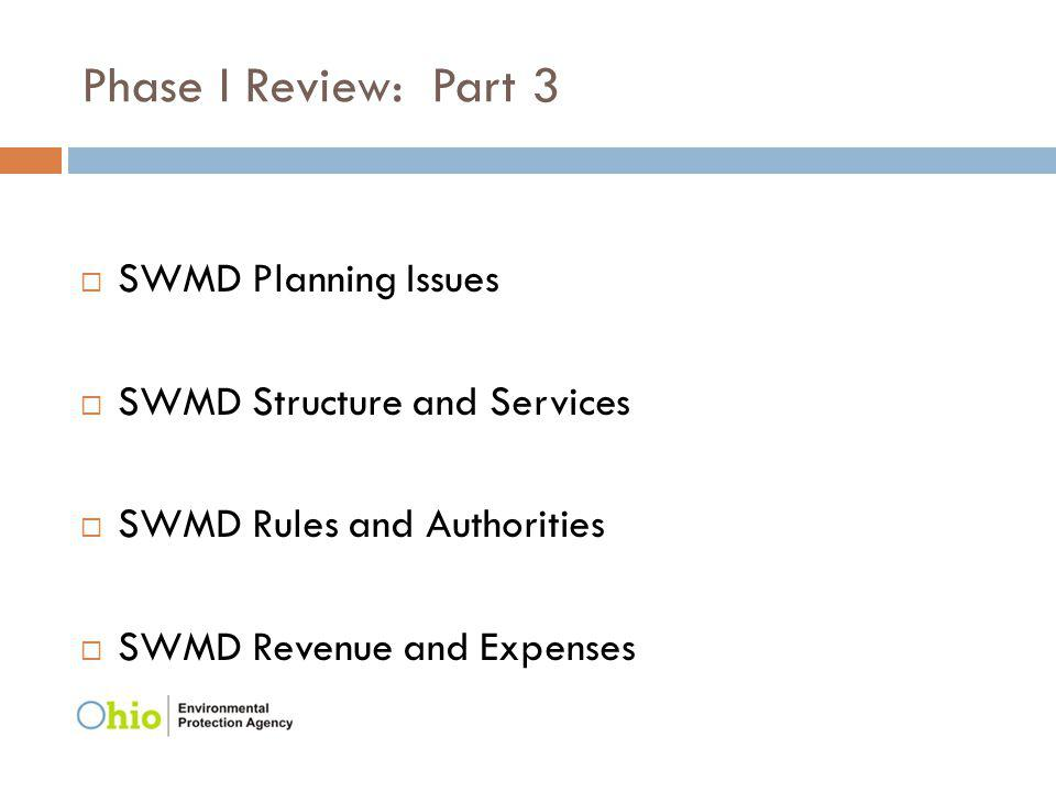 Phase I Review: Part 3 SWMD Planning Issues SWMD Structure and Services SWMD Rules and Authorities SWMD Revenue and Expenses