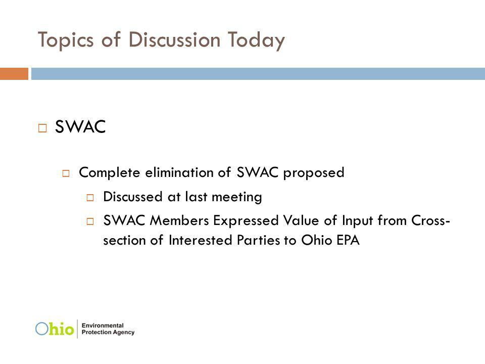 Topics of Discussion Today SWAC Complete elimination of SWAC proposed Discussed at last meeting SWAC Members Expressed Value of Input from Cross- sect