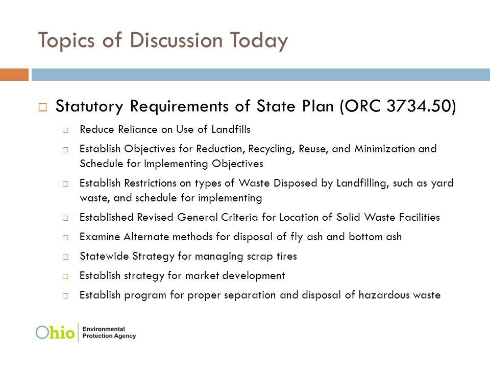 Topics of Discussion Today Statutory Requirements of State Plan (ORC 3734.50) Reduce Reliance on Use of Landfills Establish Objectives for Reduction,