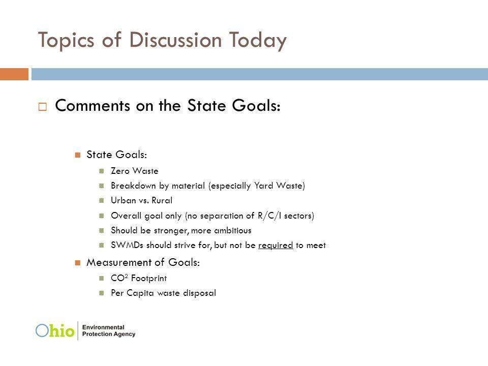 Topics of Discussion Today Comments on the State Goals: State Goals: Zero Waste Breakdown by material (especially Yard Waste) Urban vs. Rural Overall