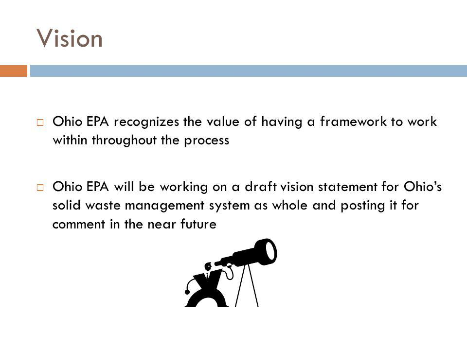 Vision Ohio EPA recognizes the value of having a framework to work within throughout the process Ohio EPA will be working on a draft vision statement