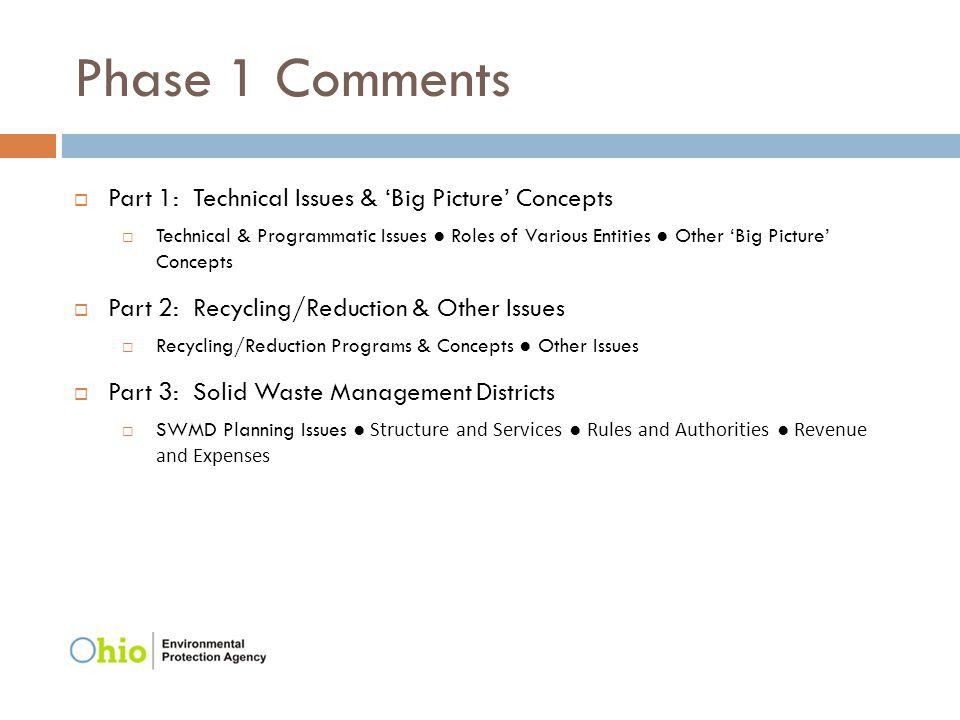 Phase 1 Comments Part 1: Technical Issues & Big Picture Concepts Technical & Programmatic Issues Roles of Various Entities Other Big Picture Concepts