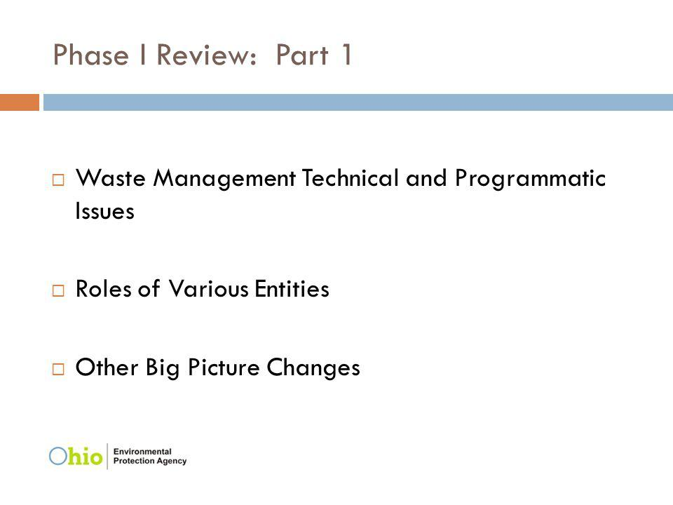 Phase I Review: Part 1 Waste Management Technical and Programmatic Issues Roles of Various Entities Other Big Picture Changes