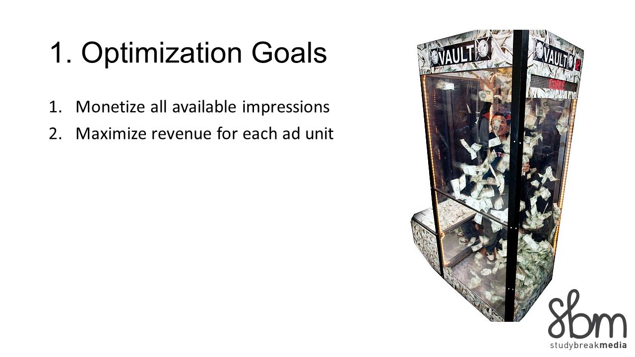 1. Optimization Goals 1.Monetize all available impressions 2.Maximize revenue for each ad unit