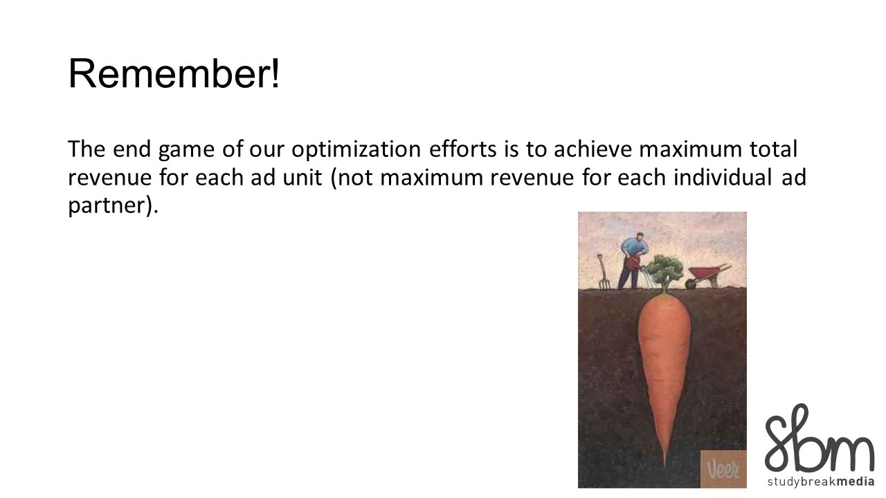 Remember! The end game of our optimization efforts is to achieve maximum total revenue for each ad unit (not maximum revenue for each individual ad pa