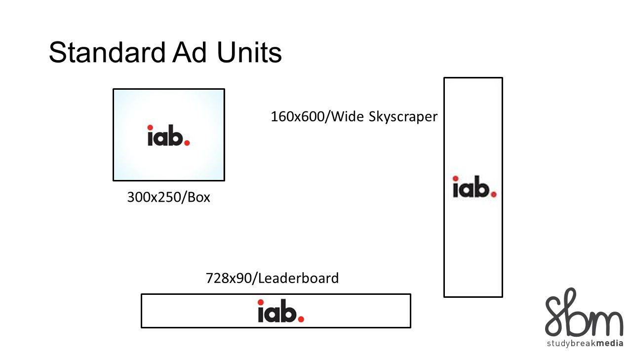 Standard Ad Units 300x250/Box 728x90/Leaderboard 160x600/Wide Skyscraper