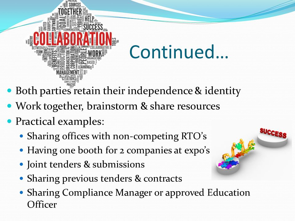 Continued… Both parties retain their independence & identity Work together, brainstorm & share resources Practical examples: Sharing offices with non-