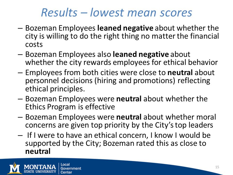 Results – lowest mean scores – Bozeman Employees leaned negative about whether the city is willing to do the right thing no matter the financial costs – Bozeman Employees also leaned negative about whether the city rewards employees for ethical behavior – Employees from both cities were close to neutral about personnel decisions (hiring and promotions) reflecting ethical principles.