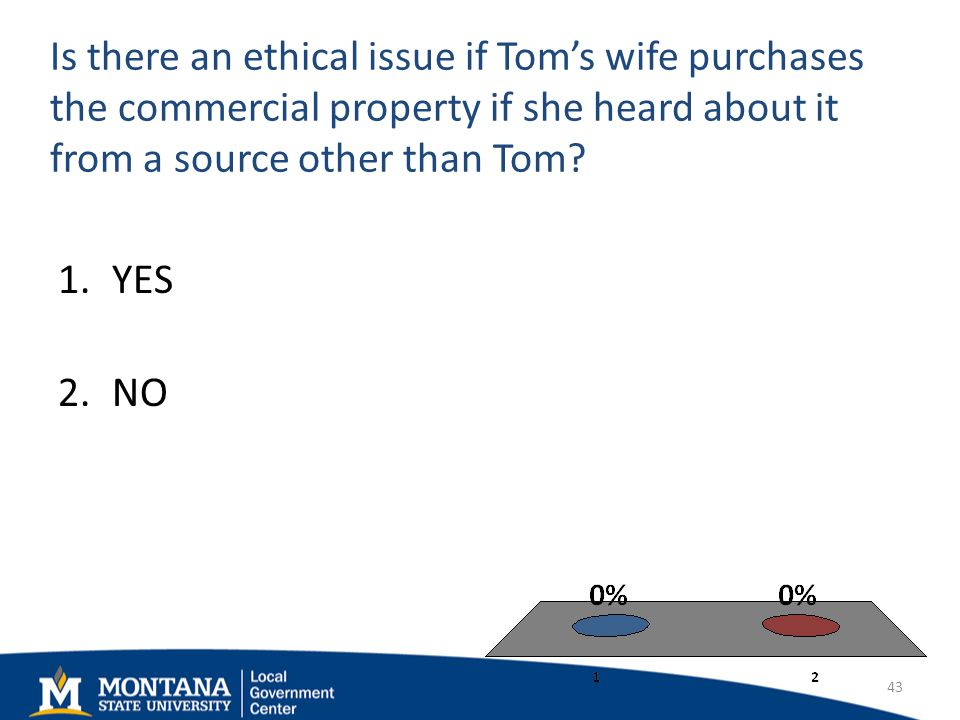 Is there an ethical issue if Toms wife purchases the commercial property if she heard about it from a source other than Tom.