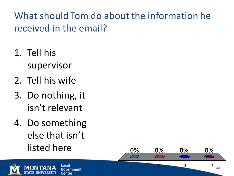 What should Tom do about the information he received in the email.