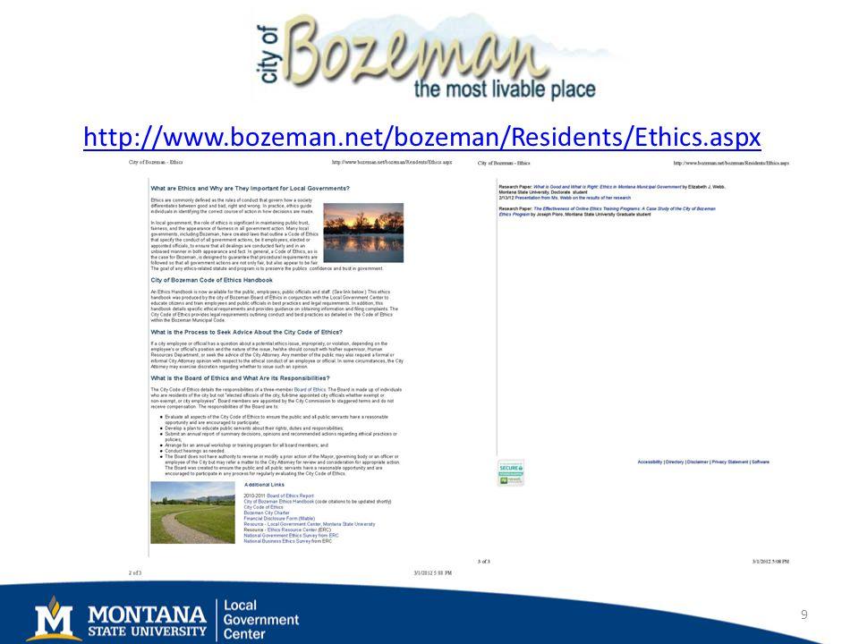 http://www.bozeman.net/bozeman/Residents/Ethics.aspx 9