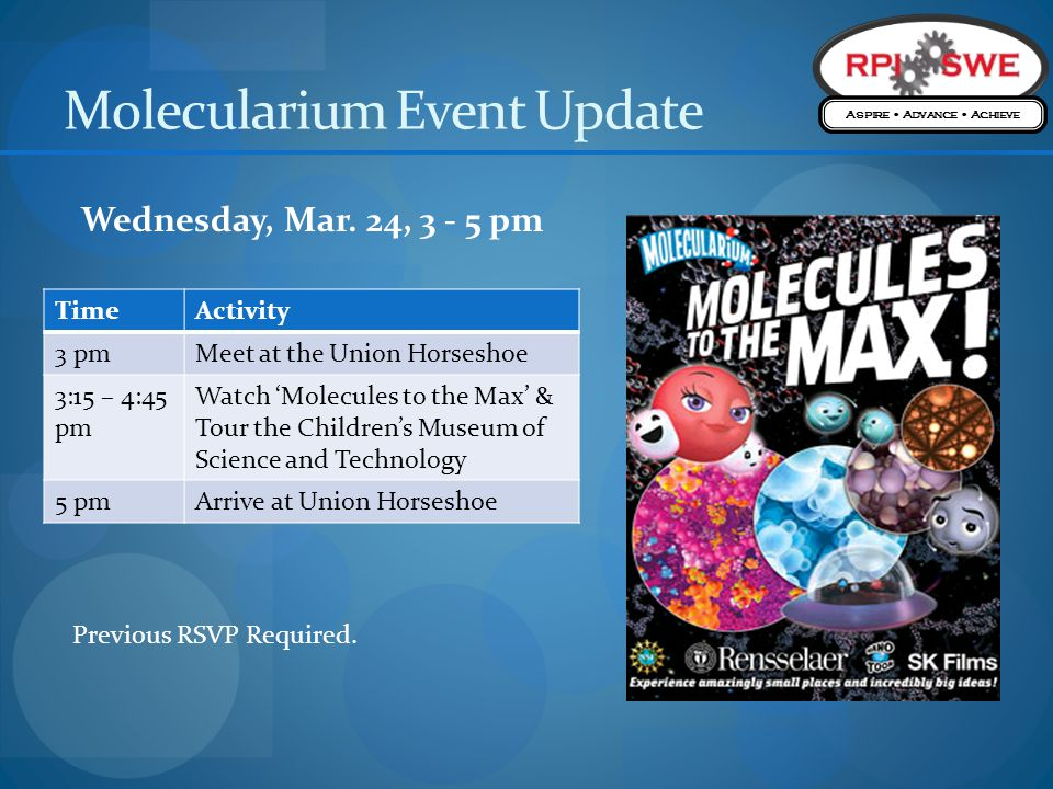 Molecularium Event Update TimeActivity 3 pmMeet at the Union Horseshoe 3:15 – 4:45 pm Watch Molecules to the Max & Tour the Childrens Museum of Science and Technology 5 pmArrive at Union Horseshoe Wednesday, Mar.