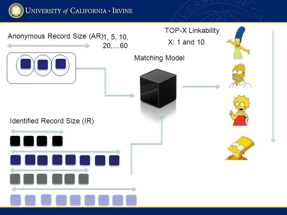 Anonymous Record Size (AR) Identified Record Size (IR) Matching Model TOP-X Linkability X: 1 and 10 1, 5, 10, 20,…60