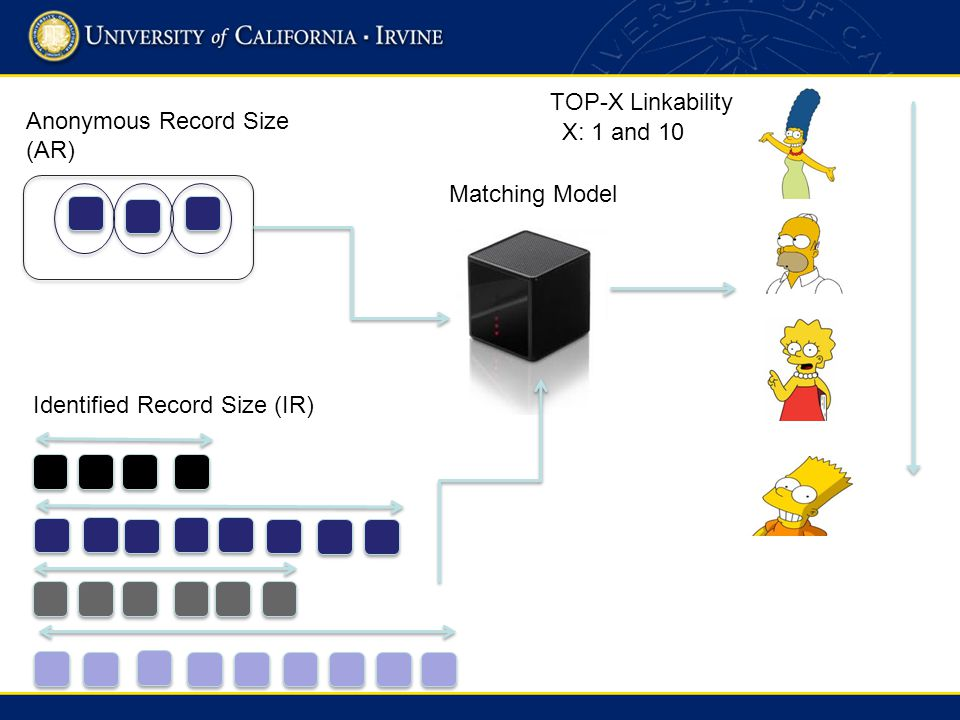 Anonymous Record Size (AR) Identified Record Size (IR) Matching Model TOP-X Linkability X: 1 and 10