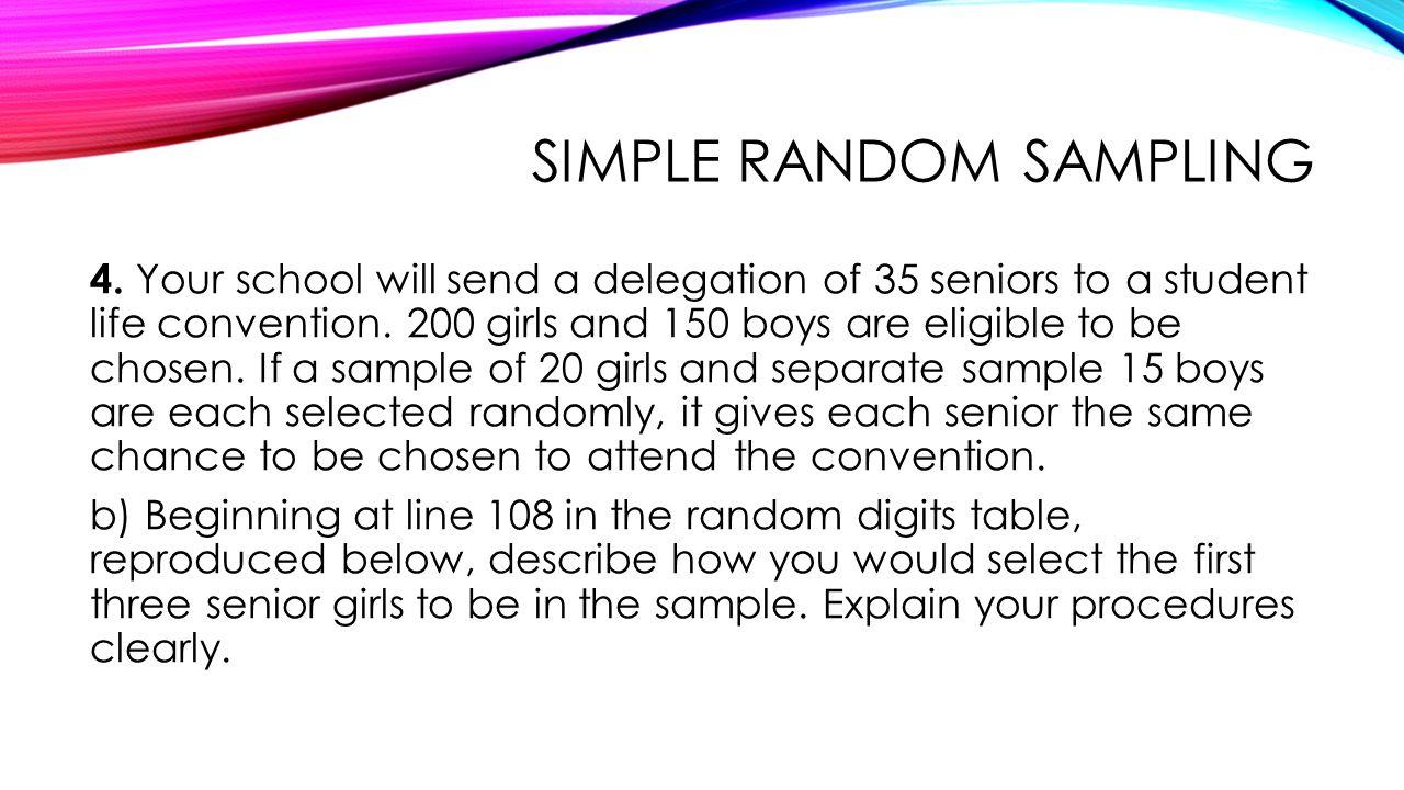 SIMPLE RANDOM SAMPLING 4.