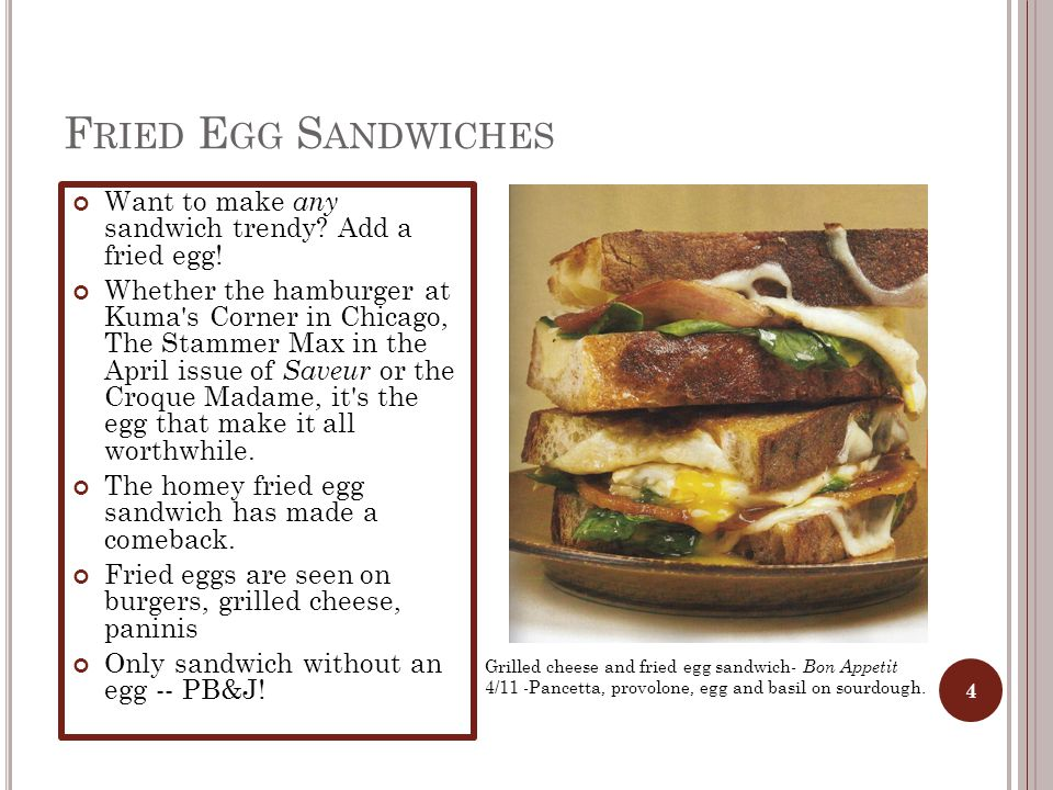 F RIED E GG S ANDWICHES Want to make any sandwich trendy.