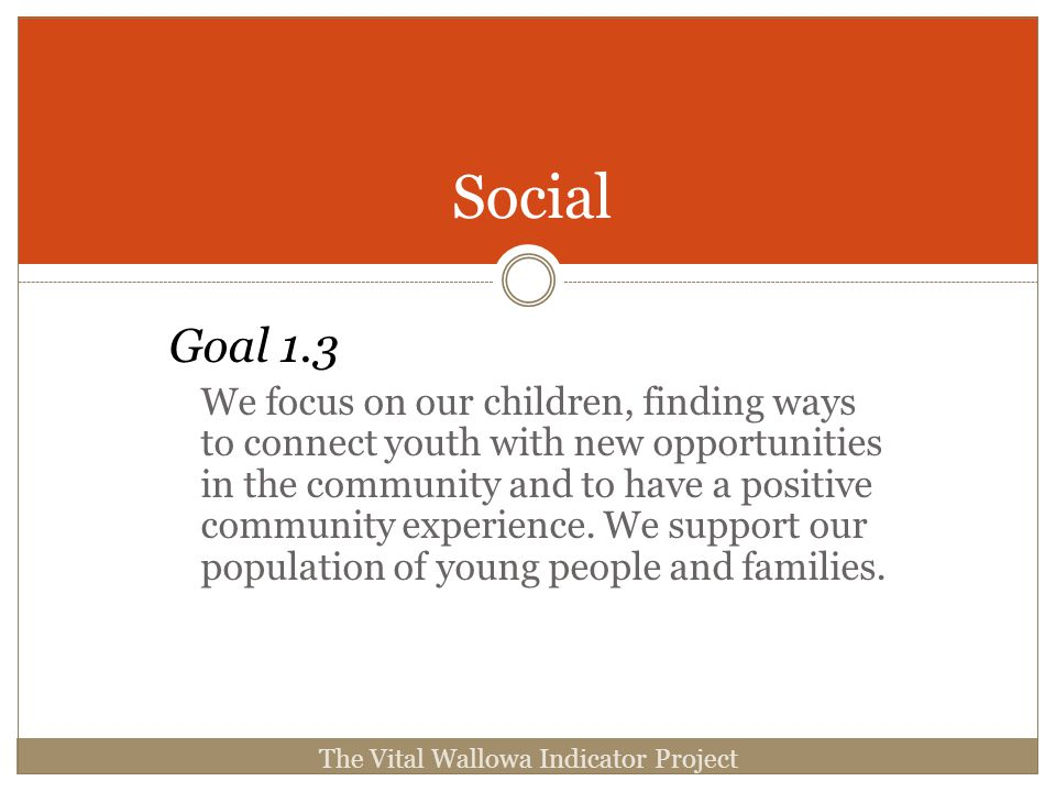 Goal 1.3 We focus on our children, finding ways to connect youth with new opportunities in the community and to have a positive community experience.