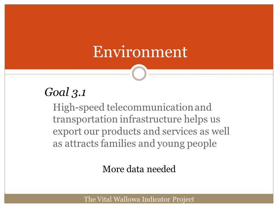 Environment Goal 3.1 High-speed telecommunication and transportation infrastructure helps us export our products and services as well as attracts families and young people The Vital Wallowa Indicator Project More data needed