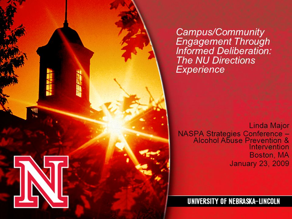 Campus/Community Engagement Through Informed Deliberation: The NU Directions Experience Linda Major NASPA Strategies Conference – Alcohol Abuse Prevention & Intervention Boston, MA January 23, 2009