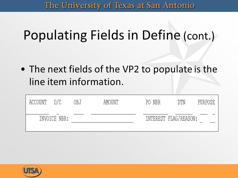 Populating Fields in Define (cont.) The next fields of the VP2 to populate is the line item information.