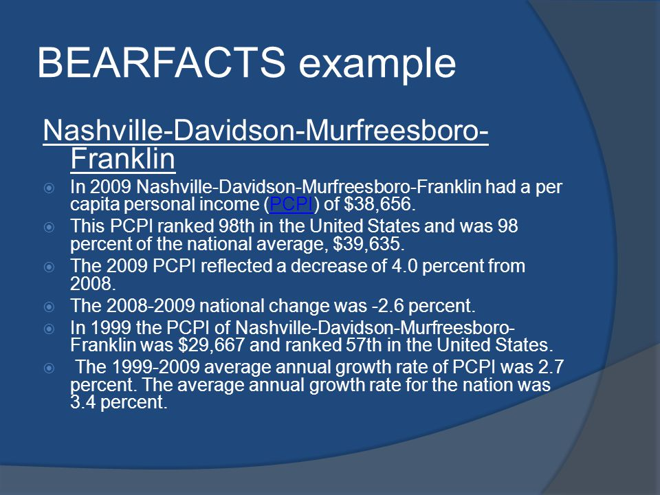 BEARFACTS example Nashville-Davidson-Murfreesboro- Franklin In 2009 Nashville-Davidson-Murfreesboro-Franklin had a per capita personal income (PCPI) of $38,656.PCPI This PCPI ranked 98th in the United States and was 98 percent of the national average, $39,635.