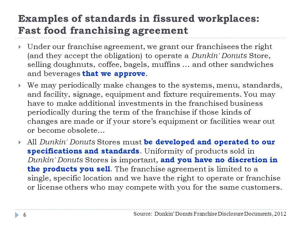 Examples of standards in fissured workplaces: Fast food franchising agreement Under our franchise agreement, we grant our franchisees the right (and t