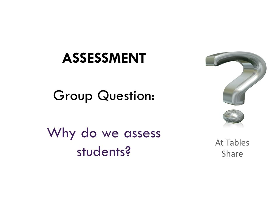 ASSESSMENT Group Question: Why do we assess students? At Tables Share