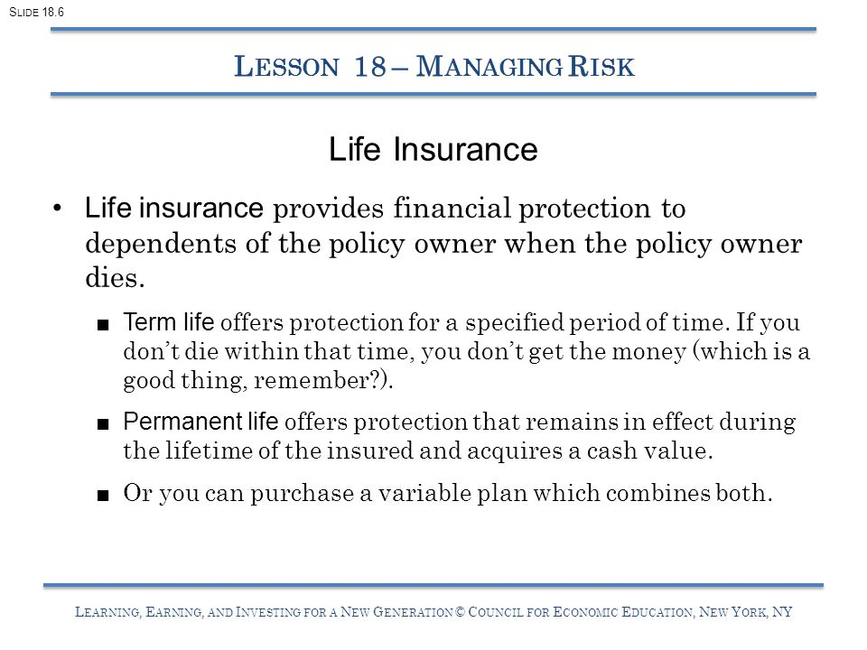 L EARNING, E ARNING, AND I NVESTING FOR A N EW G ENERATION © C OUNCIL FOR E CONOMIC E DUCATION, N EW Y ORK, NY Life Insurance Life insurance provides financial protection to dependents of the policy owner when the policy owner dies.