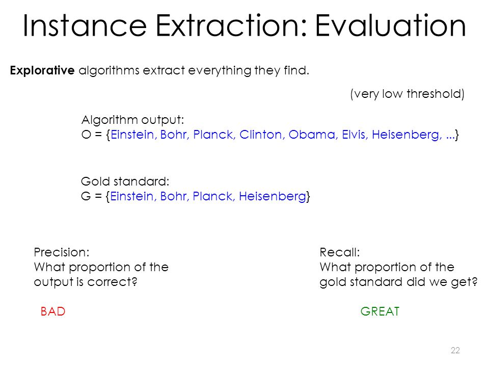 Instance Extraction: Evaluation Explorative algorithms extract everything they find.