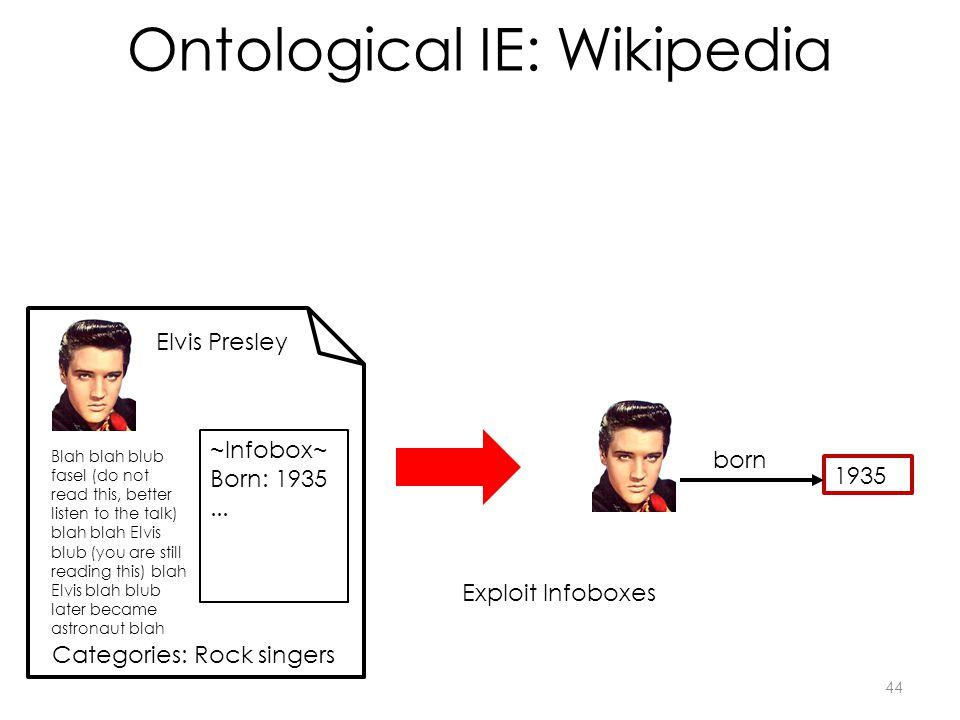 Ontological IE: Wikipedia 1935 born Elvis Presley Blah blah blub fasel (do not read this, better listen to the talk) blah blah Elvis blub (you are still reading this) blah Elvis blah blub later became astronaut blah ~Infobox~ Born: 1935...
