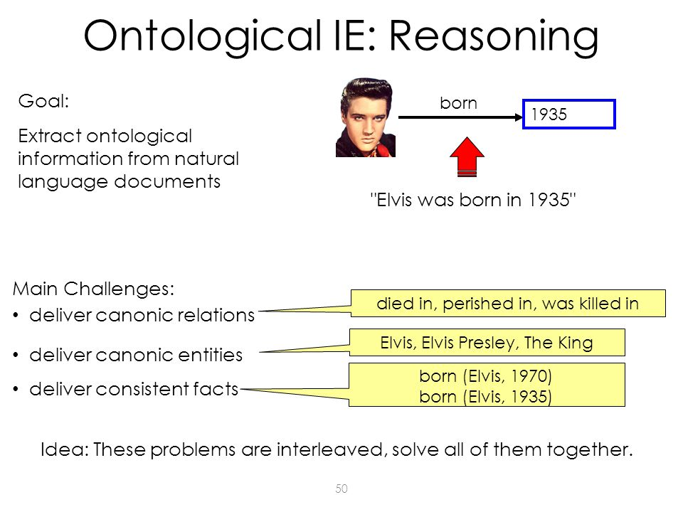 50 1935 born Elvis was born in 1935 Main Challenges: Goal: Extract ontological information from natural language documents deliver canonic relations deliver canonic entities deliver consistent facts died in, perished in, was killed in Elvis, Elvis Presley, The King born (Elvis, 1970) born (Elvis, 1935) Ontological IE: Reasoning Idea: These problems are interleaved, solve all of them together.