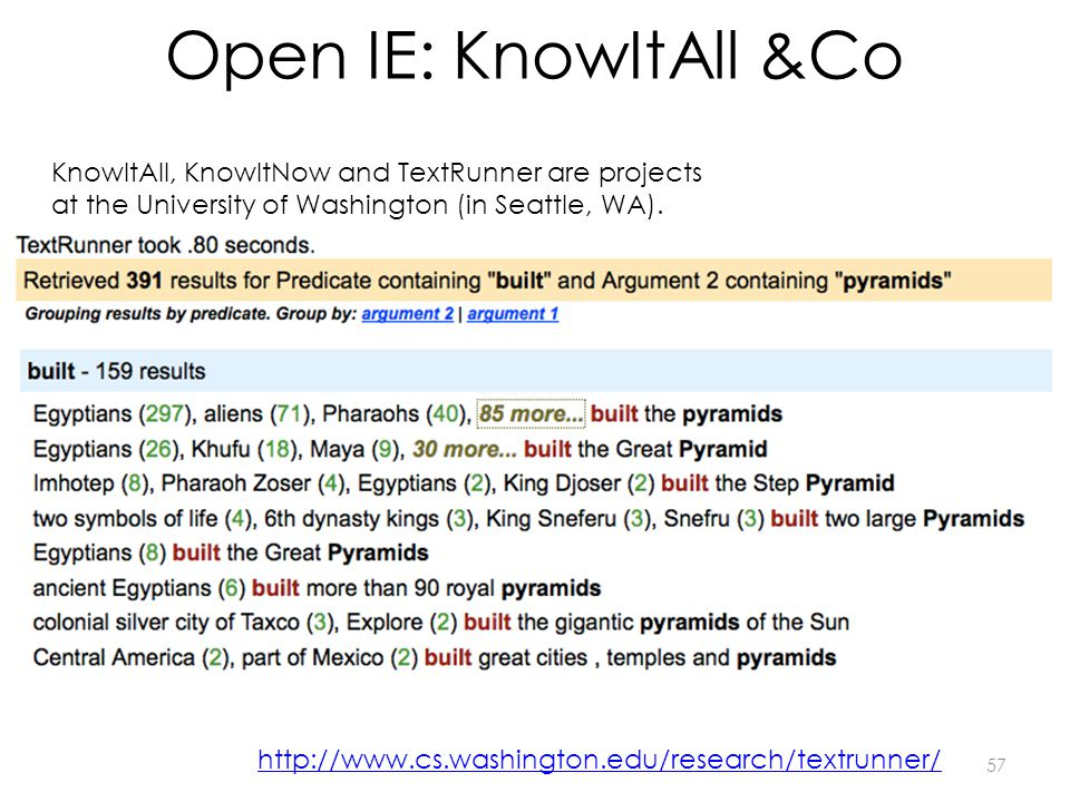 Open IE: KnowItAll &Co KnowItAll, KnowItNow and TextRunner are projects at the University of Washington (in Seattle, WA).