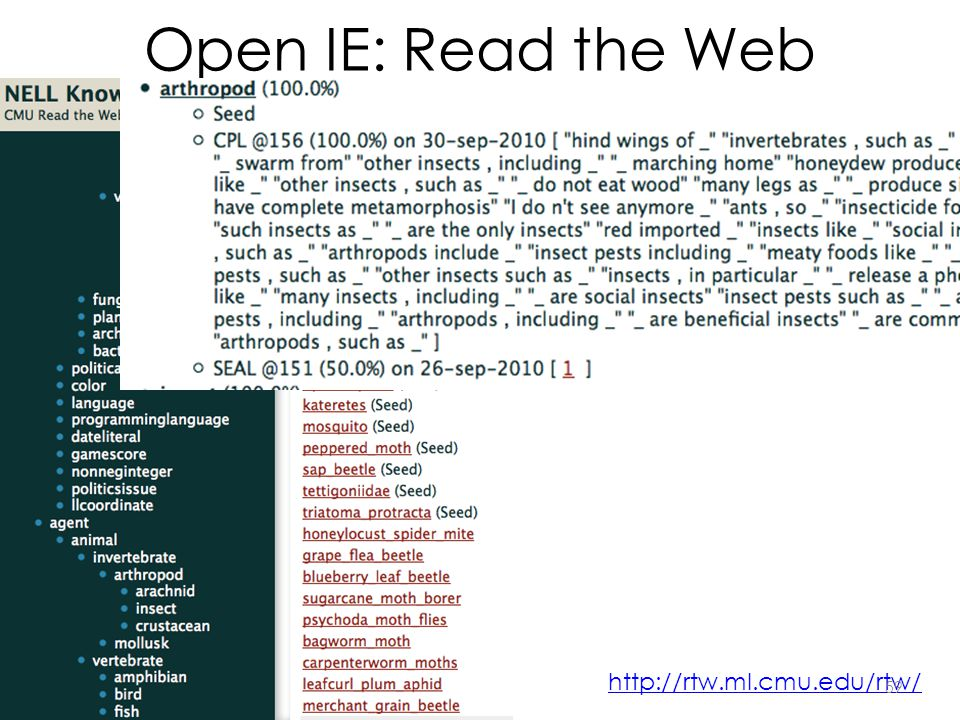 Open IE: Read the Web http://rtw.ml.cmu.edu/rtw/ 59