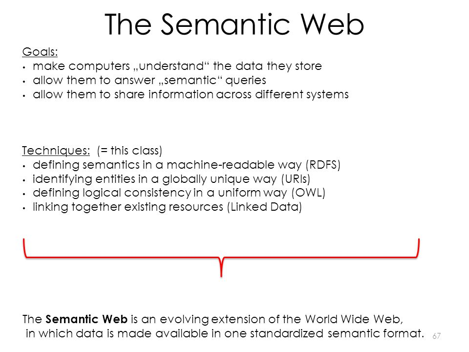 The Semantic Web 67 The Semantic Web is an evolving extension of the World Wide Web, in which data is made available in one standardized semantic format.