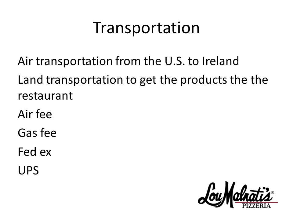 Transportation Air transportation from the U.S.