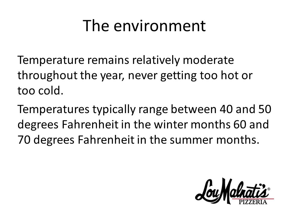 The environment Temperature remains relatively moderate throughout the year, never getting too hot or too cold.