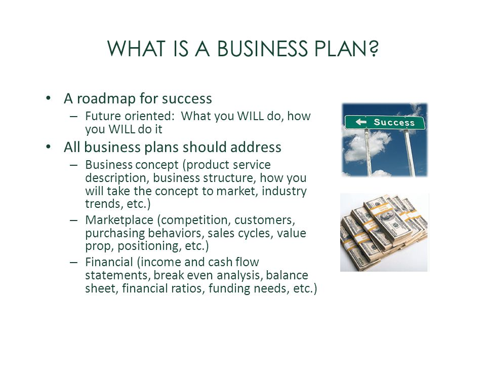 WHAT IS A BUSINESS PLAN? A roadmap for success – Future oriented: What you WILL do, how you WILL do it All business plans should address – Business co